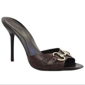 72cb30d77 Gucci. Gucci Horsebit Brown Monogram Leather Heel Sandal